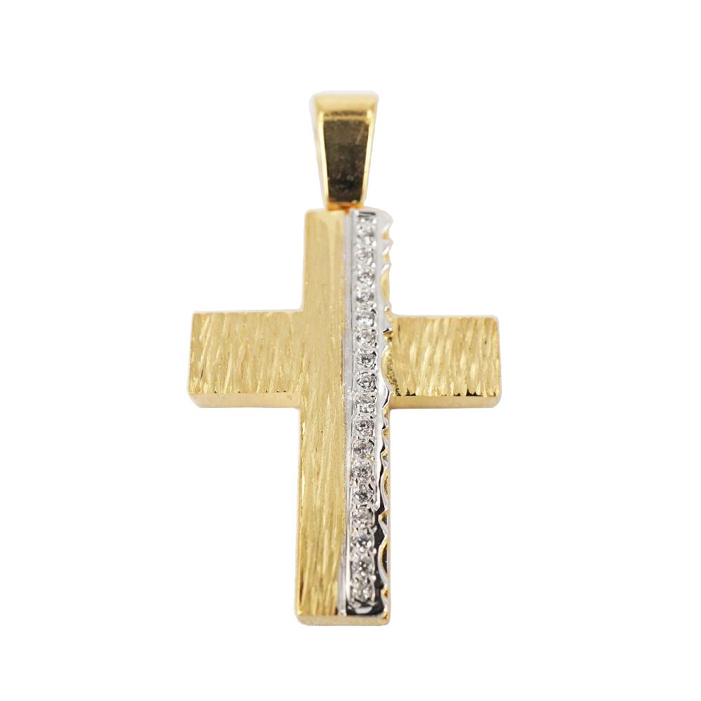 Σταυρός Βάπτισης 14Κ Κίτρινος Χρυσός Γυναικείος ST1008