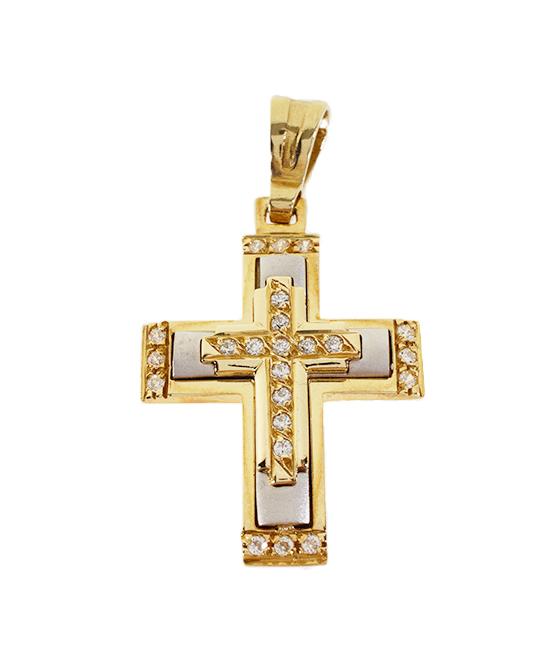 Σταυρός Βάπτισης 14Κ Δίχρωμος Χρυσός Γυναικείος ST598