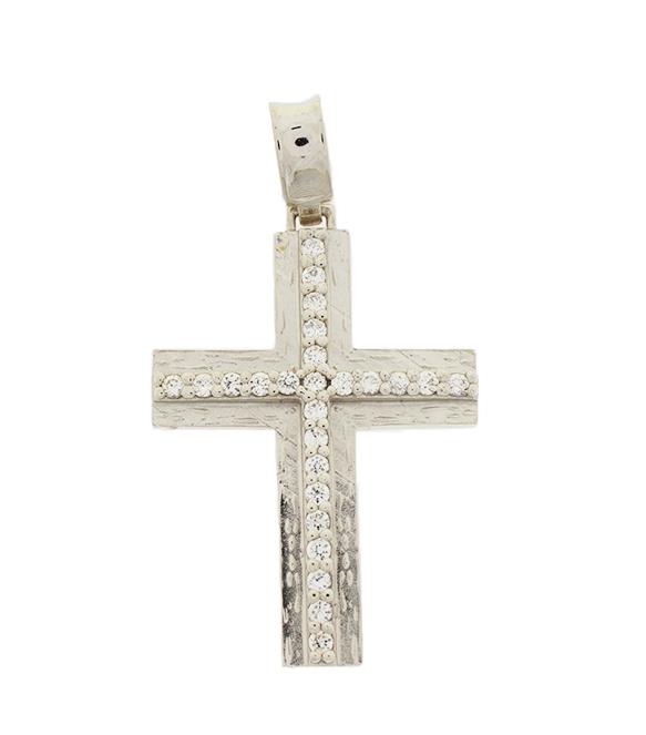 Σταυρός Βάπτισης 14Κ Λευκόχρυσος Γυναικείος ST502