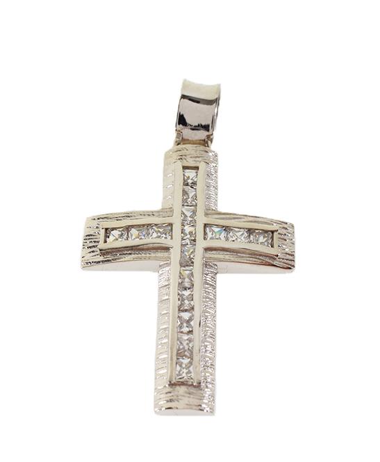 Σταυρός Βάπτισης 14Κ Λευκόχρυσος Γυναικείος ST570