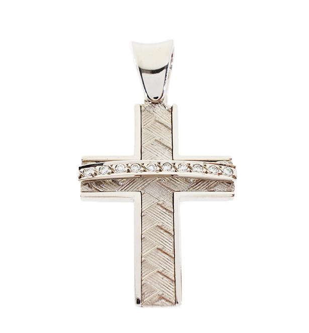 Σταυρός Βάπτισης 14Κ Λευκόχρυσος Γυναικείος ST731