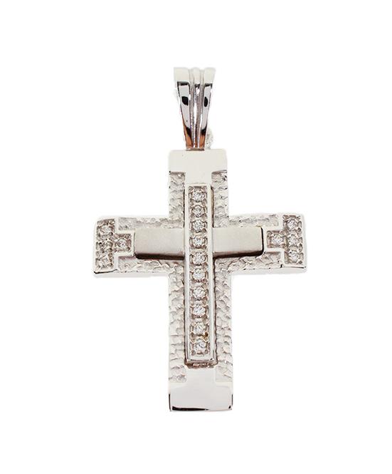 Σταυρός Βάπτισης 14Κ Λευκόχρυσος Γυναικείος ST735