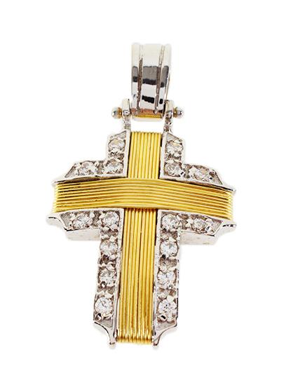 Σταυρός Βάπτισης 14Κ Δίχρωμος Χρυσός Γυναικείος ST558