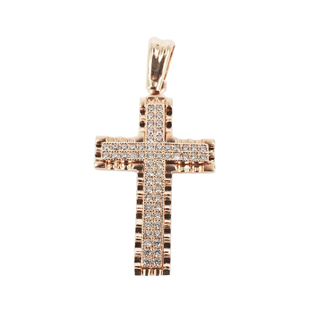 Σταυρός Βάπτισης 14Κ Ροζ Χρυσός Γυναικείος ST920