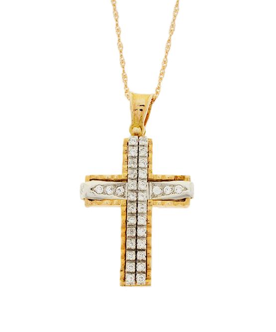 Σταυρός Βάπτισης 14Κ Δίχρωμος Χρυσός Γυναικείος ST578