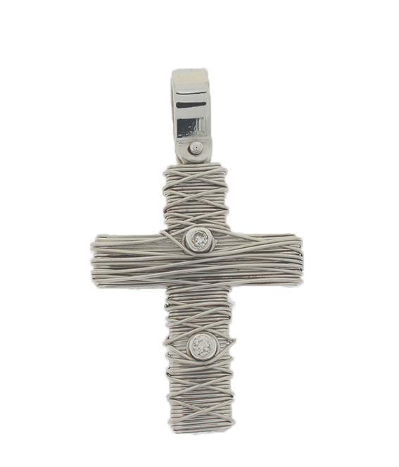 Σταυρός Βάπτισης 18Κ Λευκόχρυσος Γυναικείος ST622