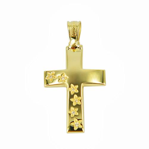 Σταυρός Βάπτισης 14Κ Κίτρινος Χρυσός Γυναικείος ΤΡΙΑΝΤΟΣ ST1106