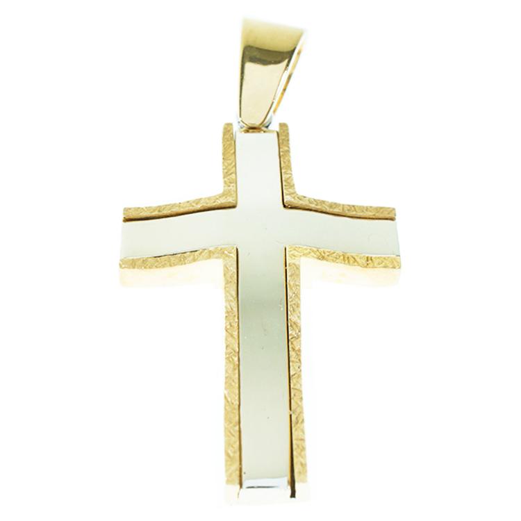Σταυρός Βάπτισης 14Κ Δίχρωμος Χρυσός Ανδρικός ST837