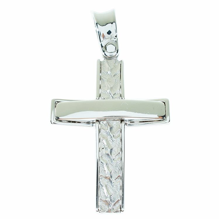 Σταυρός Βάπτισης 14Κ Λευκόχρυσος Ανδρικός ST817