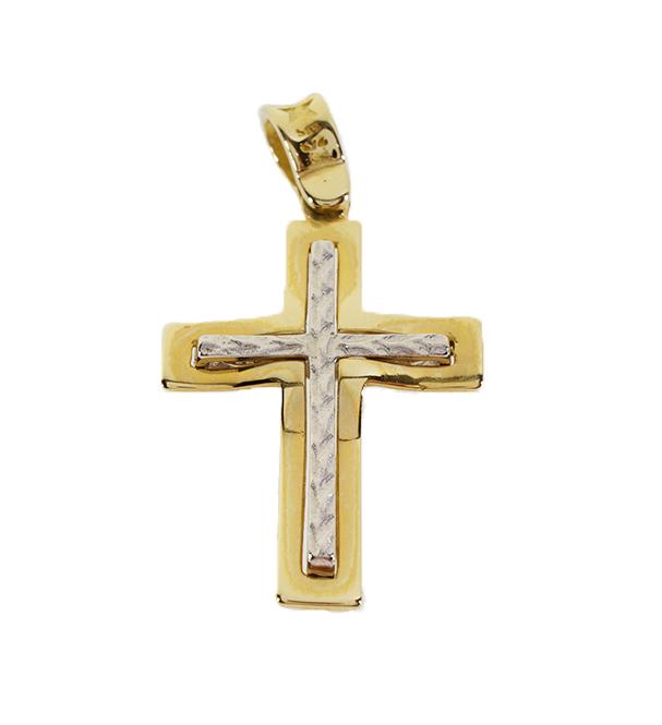 Σταυρός Βάπτισης 14Κ Δίχρωμος Χρυσός Ανδρικός ST672