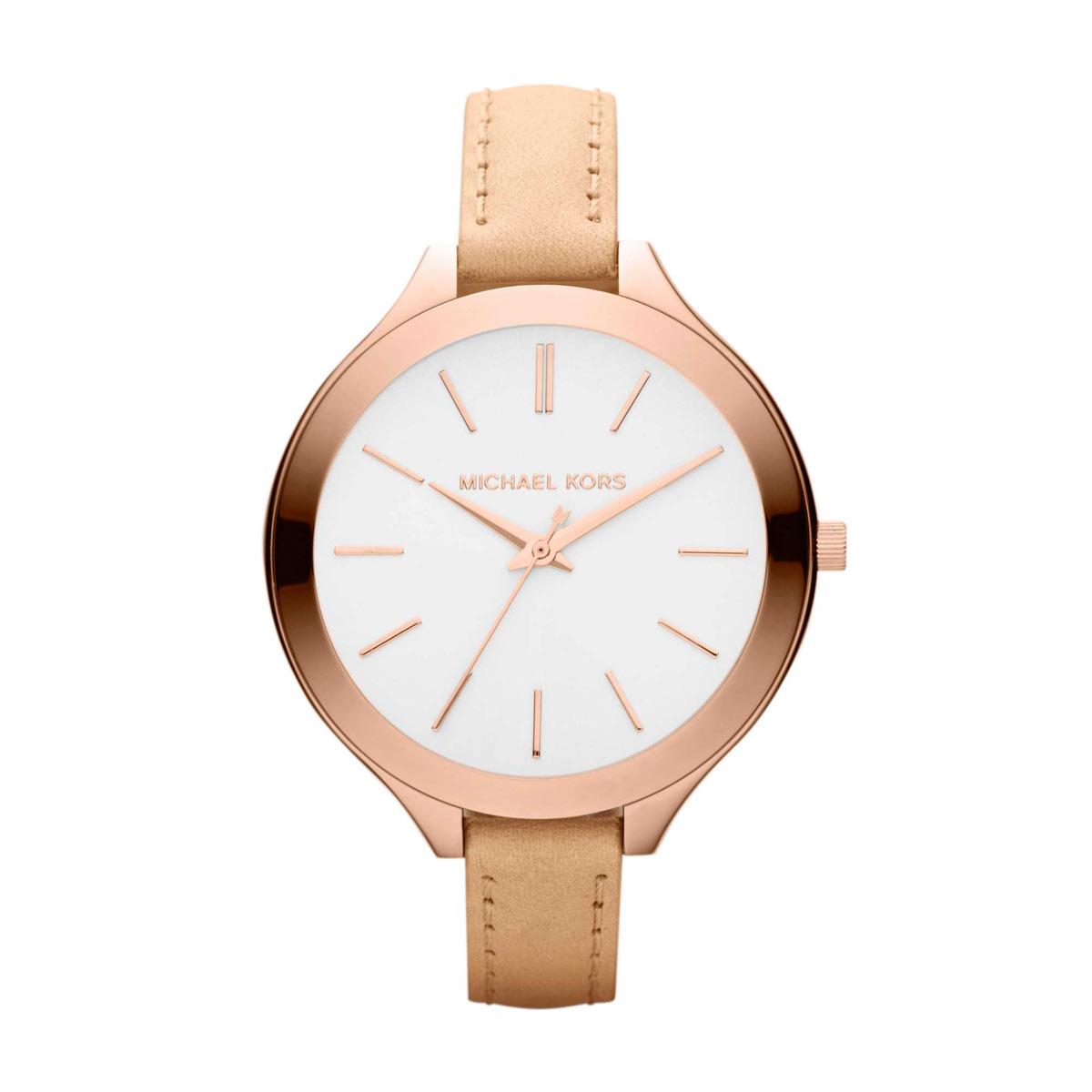Michael Kors Women's Runway Slim Beige Strap Watch MK2284