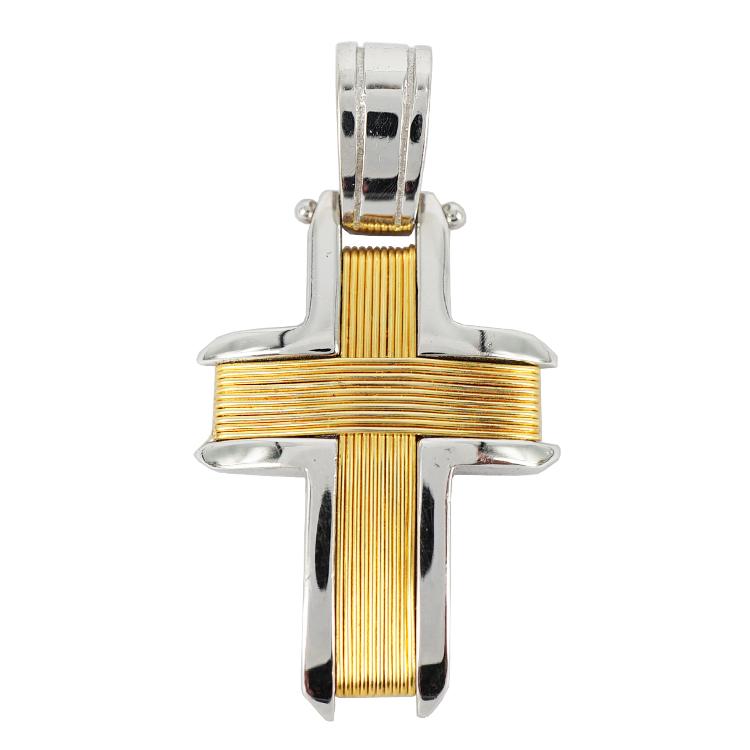 Σταυρός Βάπτισης 14Κ Δίχρωμος Χρυσός Ανδρικός ST1165