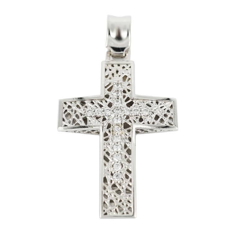 Σταυρός Βάπτισης 14Κ Λευκόχρυσος Γυναικείος ST1202