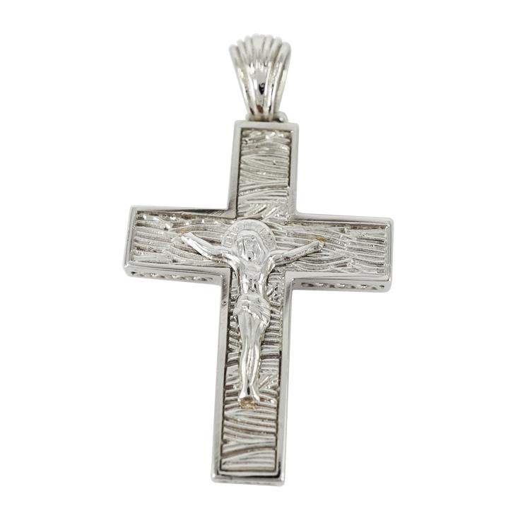 Σταυρός Βάπτισης 14Κ Λευκόχρυσος Ανδρικός ST1203