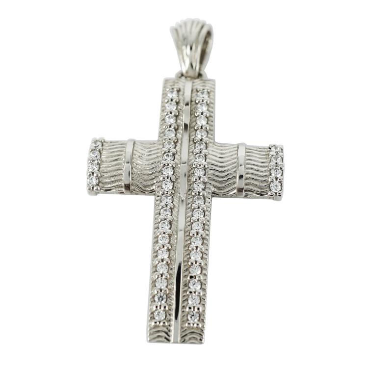 Σταυρός Βάπτισης 14Κ Λευκόχρυσος Γυναικείος ST1192