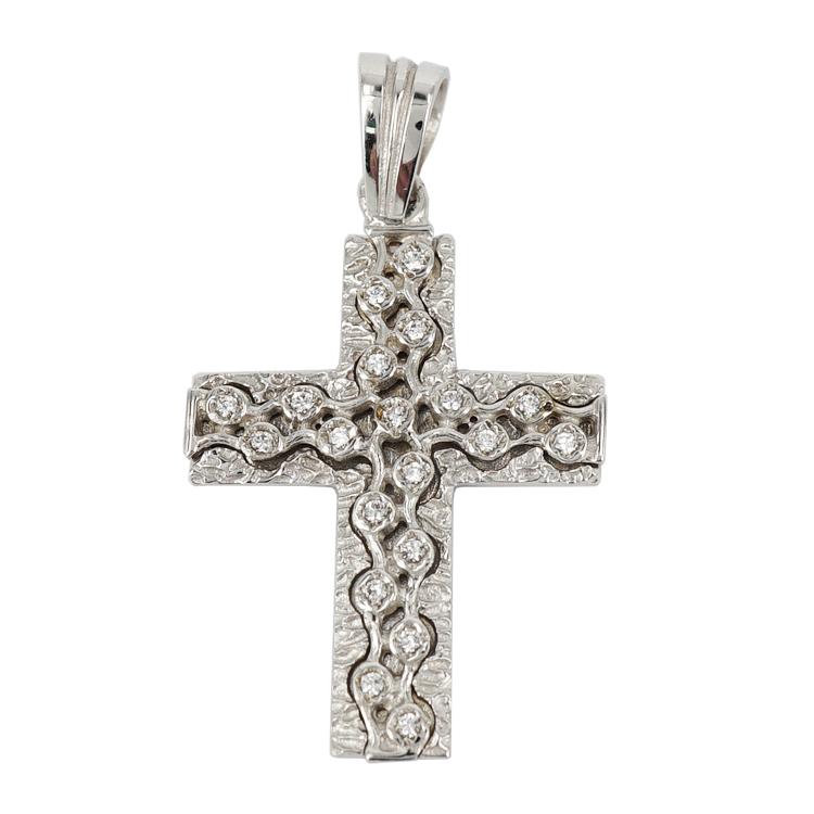 Σταυρός Βάπτισης 14Κ Λευκόχρυσος Γυναικείος ST1188