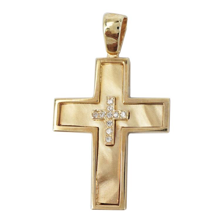 Σταυρός Βάπτισης 9Κ Κίτρινος Χρυσός Γυναικείος ST1222