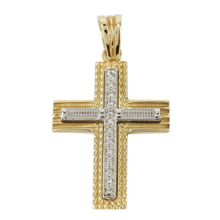 Σταυρός Βάπτισης 14Κ Δίχρωμος Χρυσός Γυναικείος ST1230