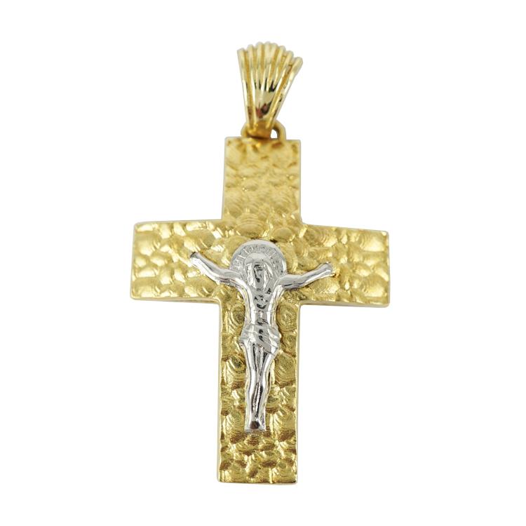 Σταυρός Βάπτισης 14Κ Δίχρωμος Χρυσός Ανδρικός ST1234