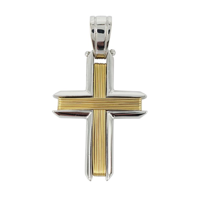 Σταυρός Βάπτισης 14Κ Δίχρωμος Χρυσός Ανδρικός ST1235