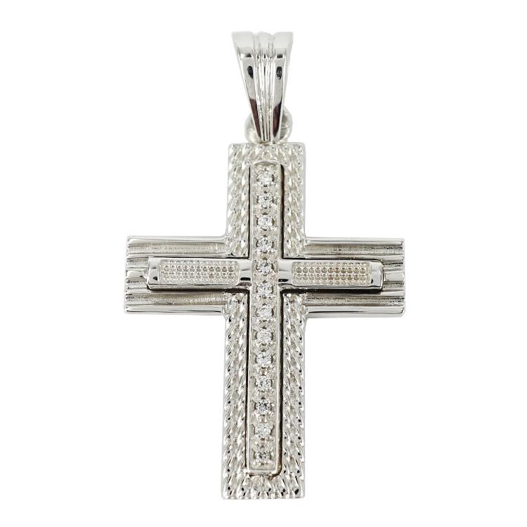 Σταυρός Βάπτισης 14Κ Λευκόχρυσος Γυναικείος ST1254