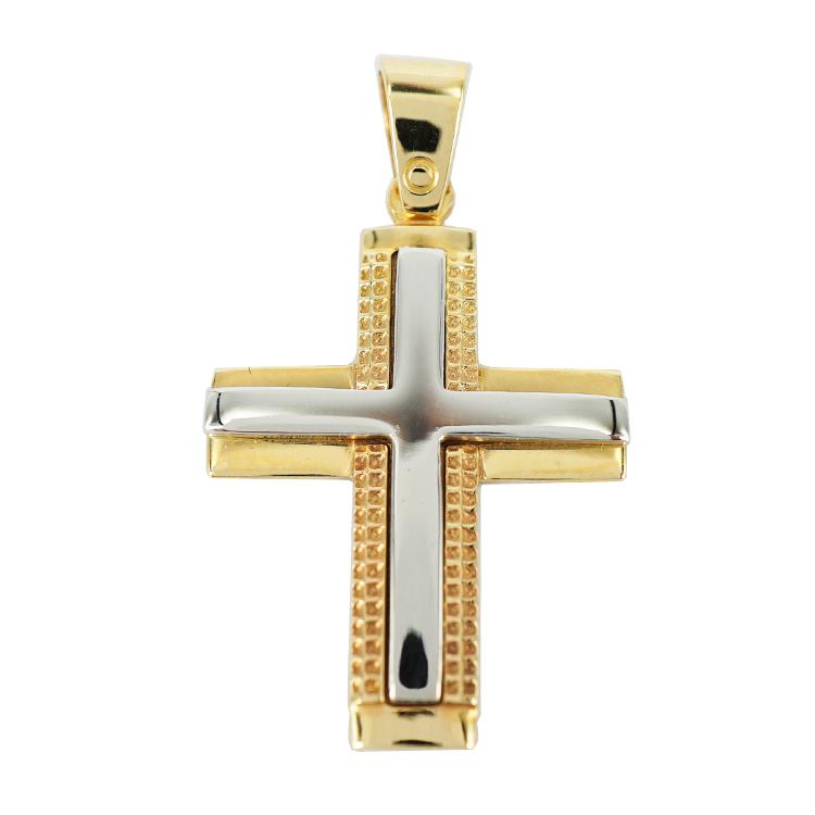 Σταυρός Βάπτισης 14Κ Δίχρωμος Χρυσός Ανδρικός ST1159