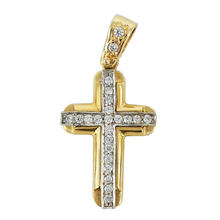 Σταυρός Βάπτισης 14Κ Κίτρινος Χρυσός Γυναικείος ST1180