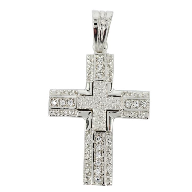 Σταυρός Βάπτισης 14Κ Λευκόχρυσος Γυναικείος ST1158