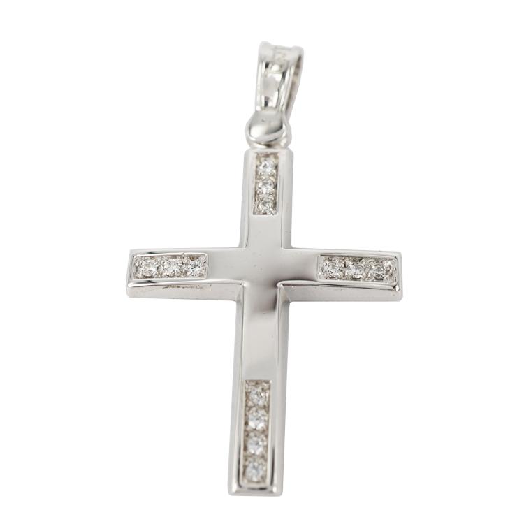 Σταυρός Βάπτισης 9Κ Λευκόχρυσος Γυναικείος ST1173