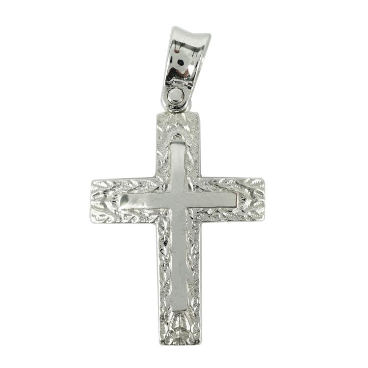 Σταυρός Βάπτισης 14Κ Λευκόχρυσος Ανδρικός ST1301