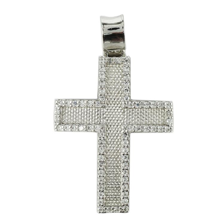 Σταυρός Βάπτισης 14Κ Λευκόχρυσος Γυναικείος ST1312