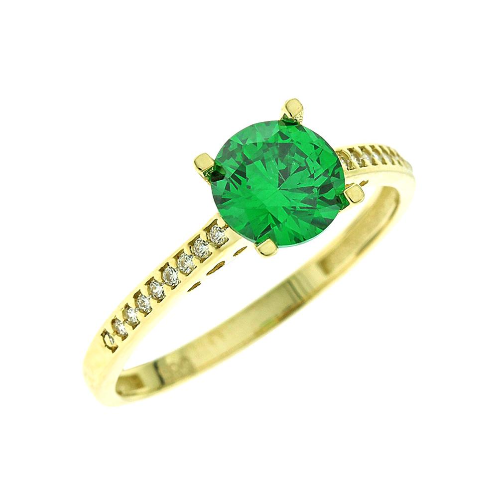 Κίτρινο Χρυσό Μονόπετρο Δαχτυλίδι Κ14 DX65857