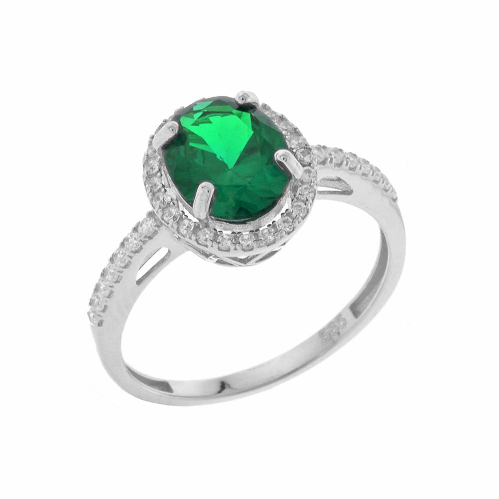 Λευκόχρυσο Δαχτυλίδι Ροζέτα Κ14 DX62198