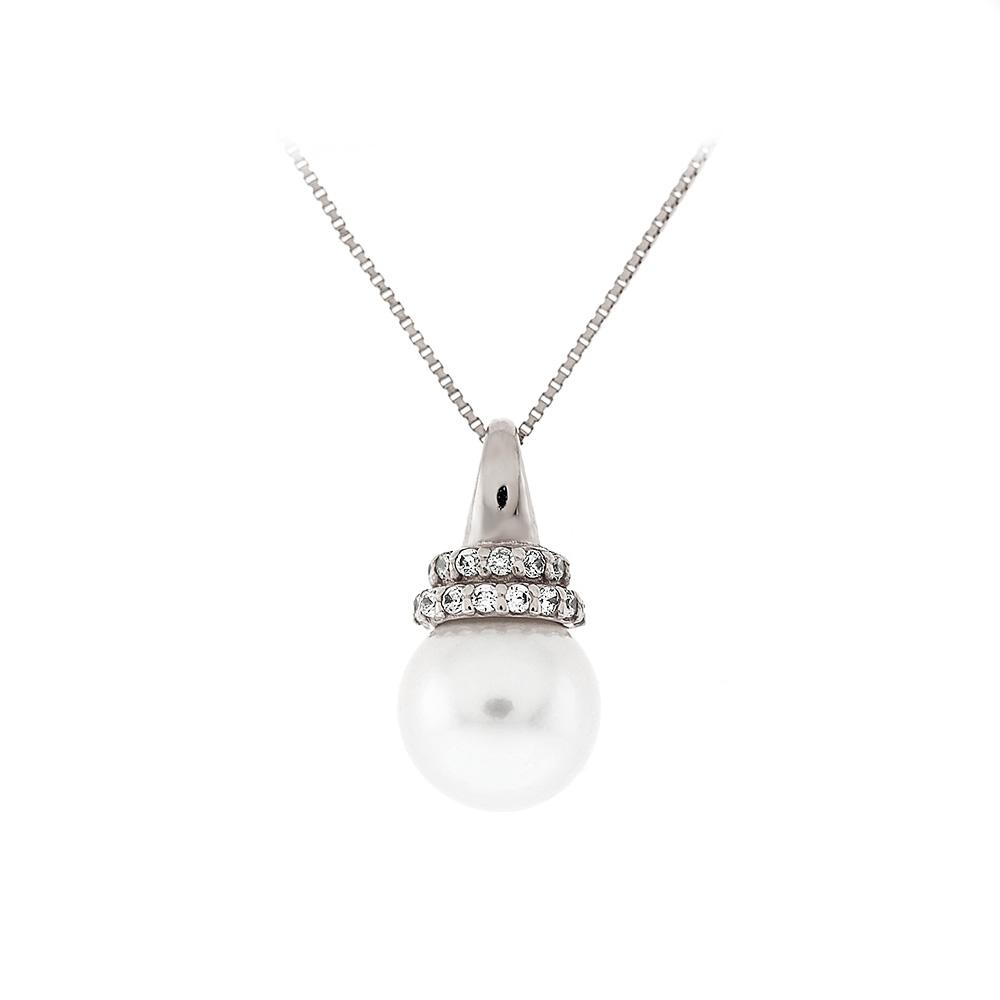 Λευκόχρυσο Mενταγιόν Mαργαριτάρι Κ14 M66363
