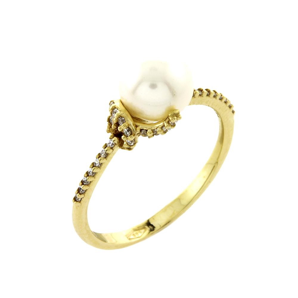 Κίτρινο Χρυσό Μονόπετρο Δαχτυλίδι με Μαργαριτάρι Κ14 DX54899
