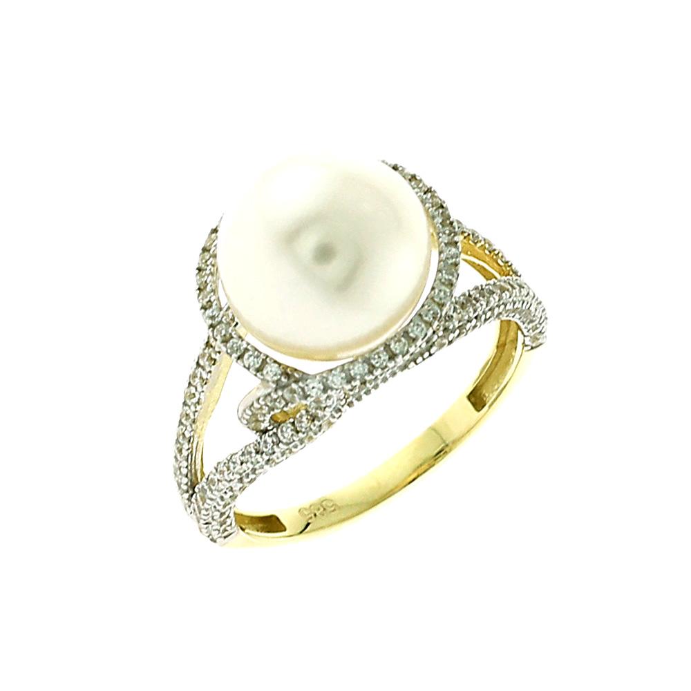 Κίτρινο Χρύσο Δαχτυλίδι με Μαργαριτάρι Κ14 DX60292