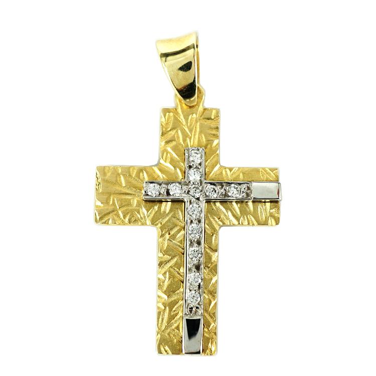 Σταυρός Βάπτισης 14Κ Δίχρωμος Χρυσός Γυναικείος ST1289