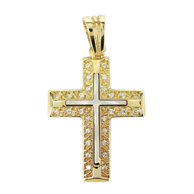 Σταυρός Βάπτισης 14Κ Δίχρωμος Χρυσός Γυναικείος ST1294