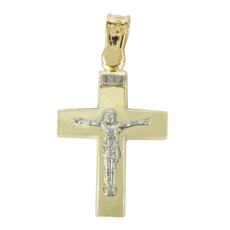 Σταυρός Βάπτισης 9Κ Δίχρωμος Χρυσός Ανδρικός ST1306