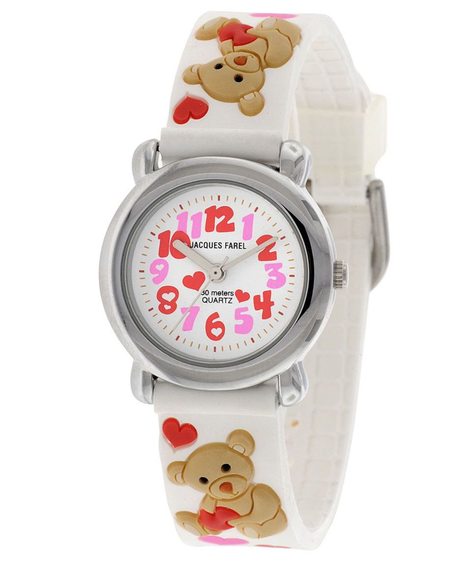 Jacques Farel Teddy Bear White Rubber Strap HBBC3388