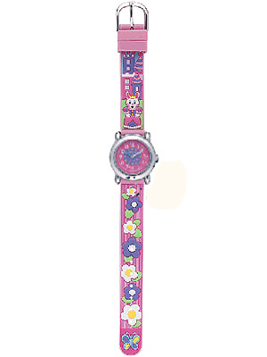JACQUES FAREL Rabbit and Flowers Pink Rubber Strap KAB5167
