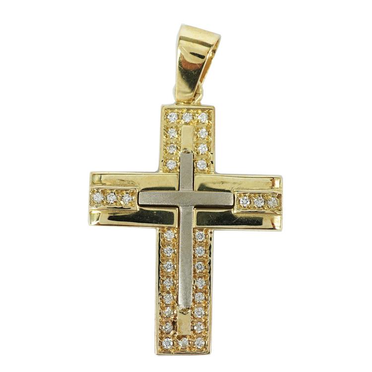 Σταυρός Βάπτισης 14Κ Δίχρωμος Χρυσός Γυναικείος ST1351