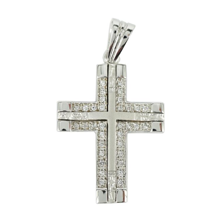 Σταυρός Βάπτισης 14Κ Λευκόχρυσος Γυναικείος ST1348