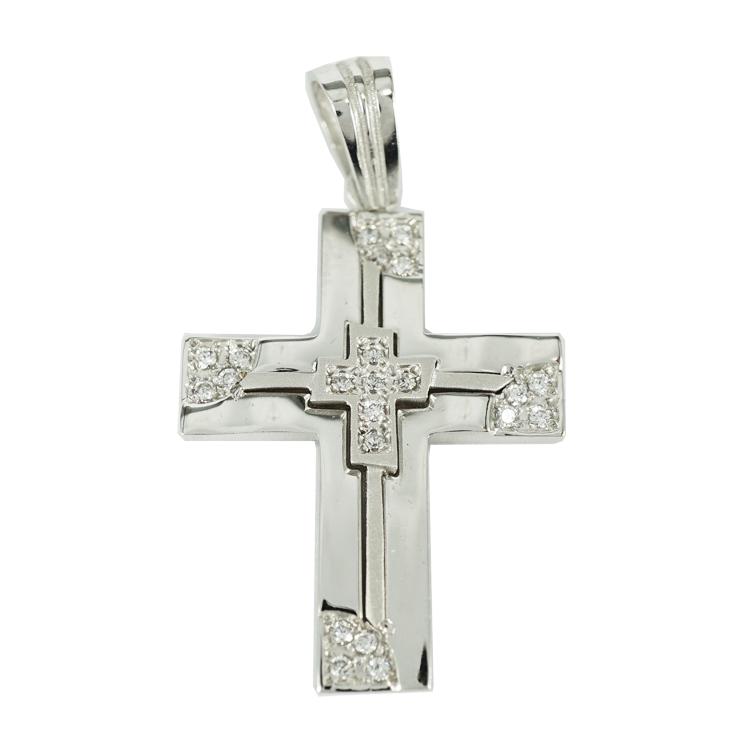 Σταυρός Βάπτισης 14Κ Λευκόχρυσος Γυναικείος ST1333
