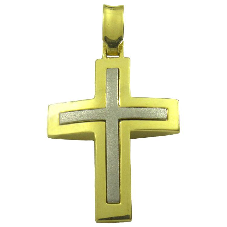 Σταυρός Βάπτισης 14Κ Δίχρωμος Χρυσός Ανδρικός ST1358
