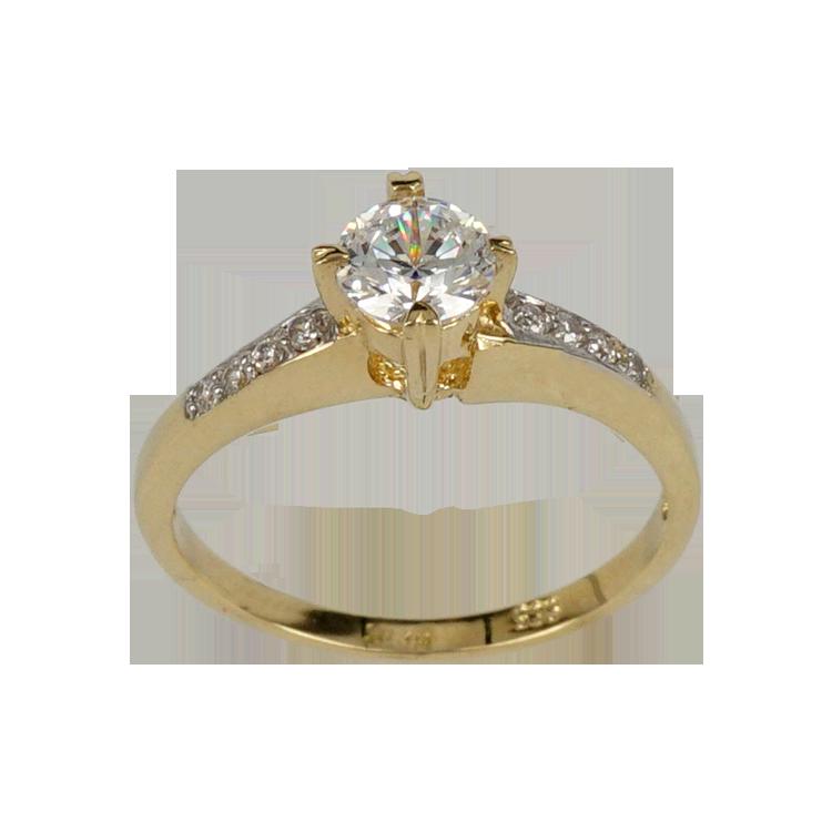 Κίτρινο Χρυσό Μονόπετρο Δαχτυλίδι Κ14 DX133