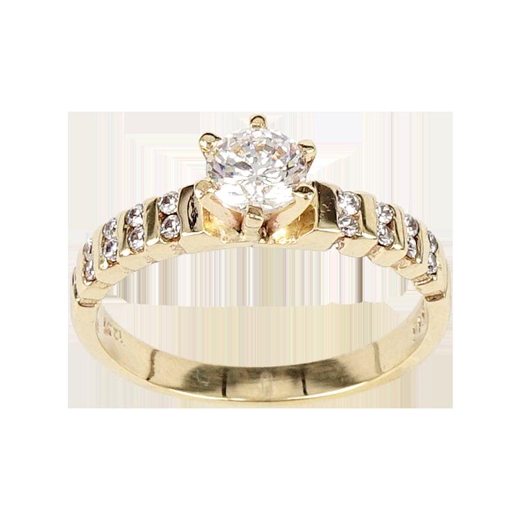 Κίτρινο Χρυσό Μονόπετρο Δαχτυλίδι DX148