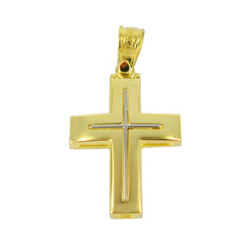 Σταυρός Βάπτισης 14Κ Δίχρωμος Χρυσός Ανδρικός ΤΡΙΑΝΤΟΣ ST1085