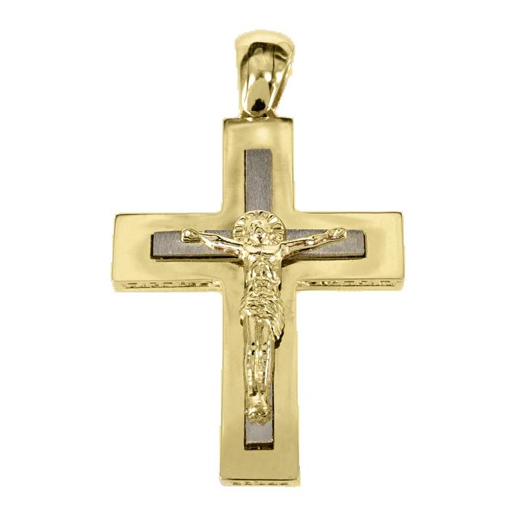 Σταυρός Βάπτισης 14Κ Δίχρωμος Χρυσός Ανδρικός ST1404