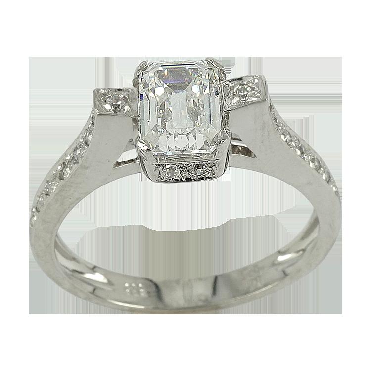 Λευκόχρυσο Μονόπετρο Δαχτυλίδι Κ14 DX122